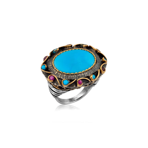 Turquoise Ring with Rubies