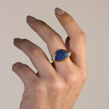 Load image into Gallery viewer, Silver Flat Lapis Lazuli Ring Matte Gold