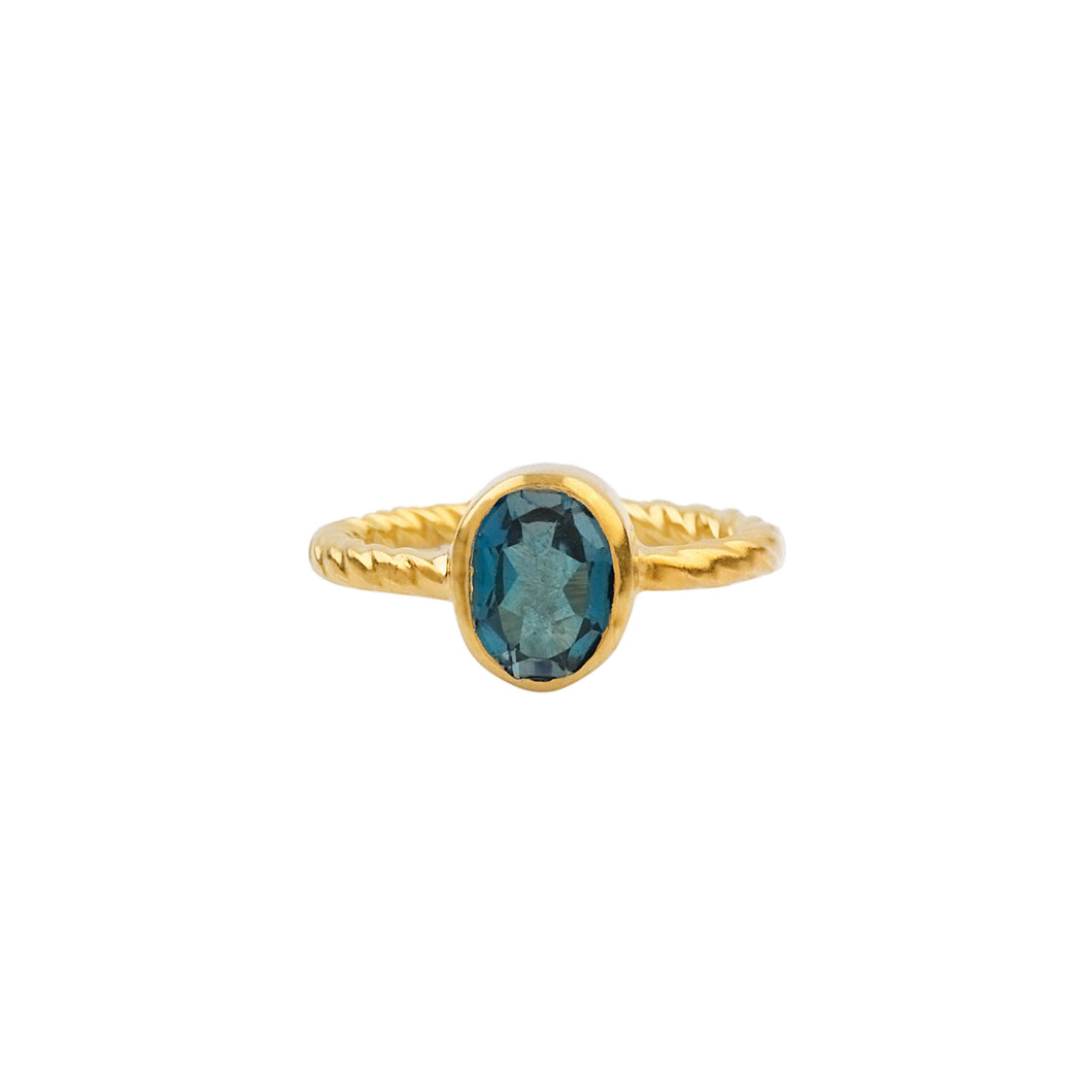 Twisted Wire Silver Natural London Blue Topaz Ring