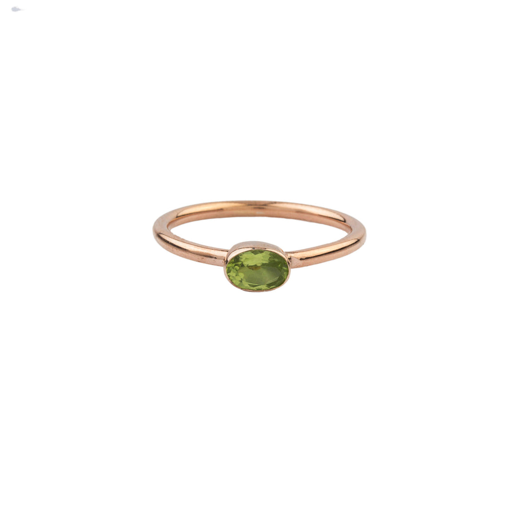 Silver Peridot Solitaire Ring Rose Gold Plated