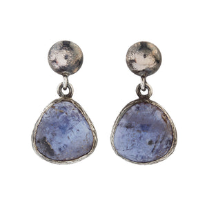 Oxidized Silver Natural Tanzanite Earrings