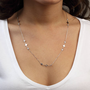 Silver Icicle Necklace with Cubic Zirconia