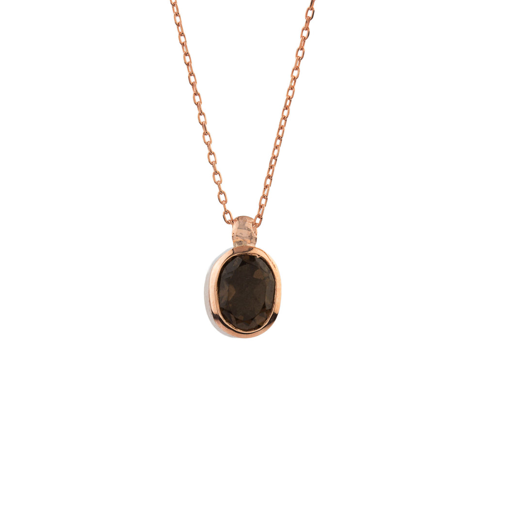 Silver Natural Smokey Quartz Pendant Rose Gold