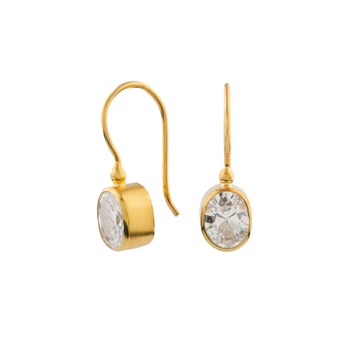 Silver Cubic Zirconia Earrings Gold Plated