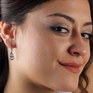 Silver Cubic Zirconia Two Stones Pear Earrings