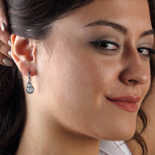 Load image into Gallery viewer, Silver Cubic Zirconia Circle Earrings