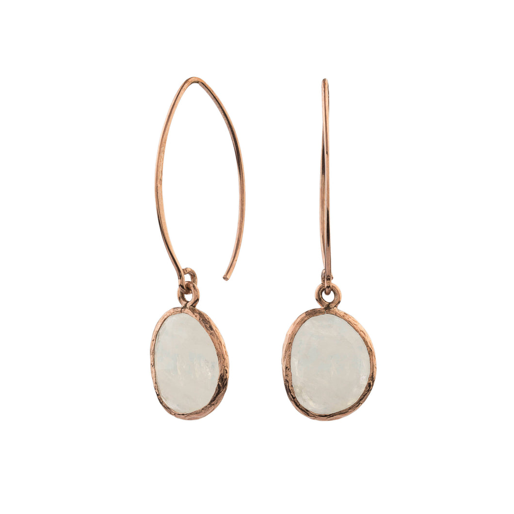 Silver Moonstone Earrings Rose Gold
