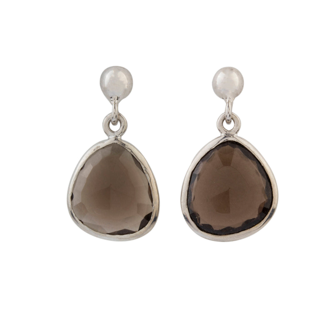 Silver Smoky Quartz Earrings