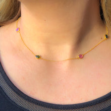 Load image into Gallery viewer, Silver  Multi Stone Tourmaline Necklace