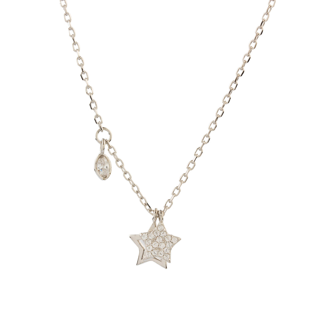 Silver Star Necklace with Cubic Zirconia