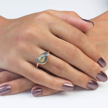 Load image into Gallery viewer, Silver Labradorite Rose Gold Ring
