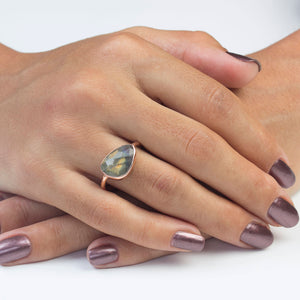 Silver Labradorite Rose Gold Ring