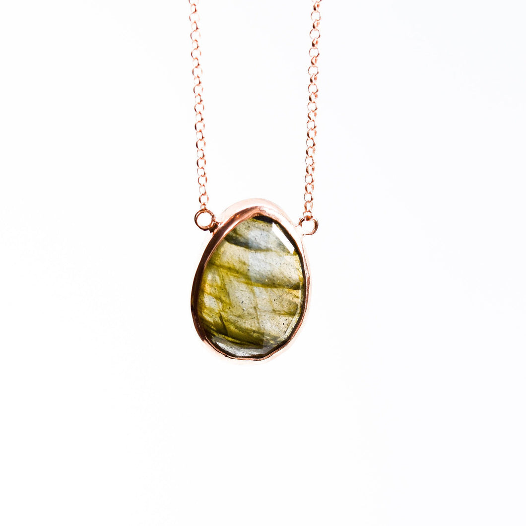 Silver Labradorite Necklace  Rose Gold Plated