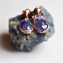 Load image into Gallery viewer, Silver Natural Tanzanite Earrings Rose Gold