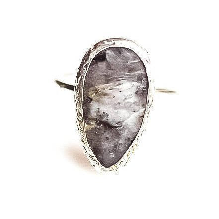 Silver Black Labradorite Ring