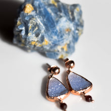 Load image into Gallery viewer, Silver Raw Blue Chalcedony Pear Earrings