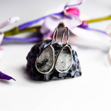 Load image into Gallery viewer, Silver Rutilated  Black Quartz Earrings
