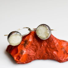 Load image into Gallery viewer, Oxidized Silver Druzy Smithsonite Circle  Earrings