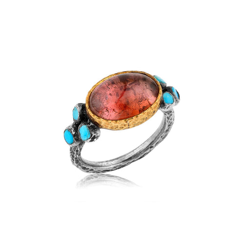 Handmade Tourmaline And Turquoise Ring