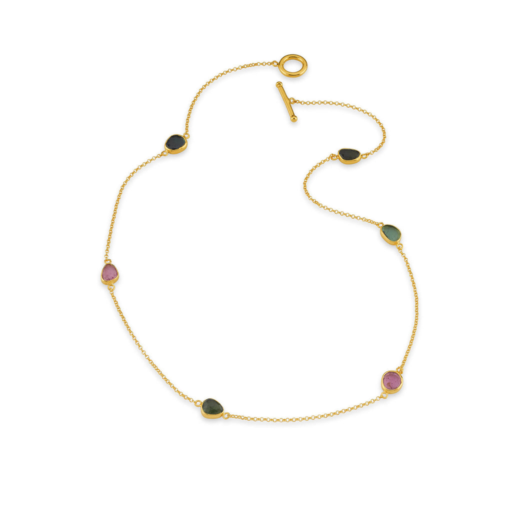Silver  Multi Stone Tourmaline Necklace