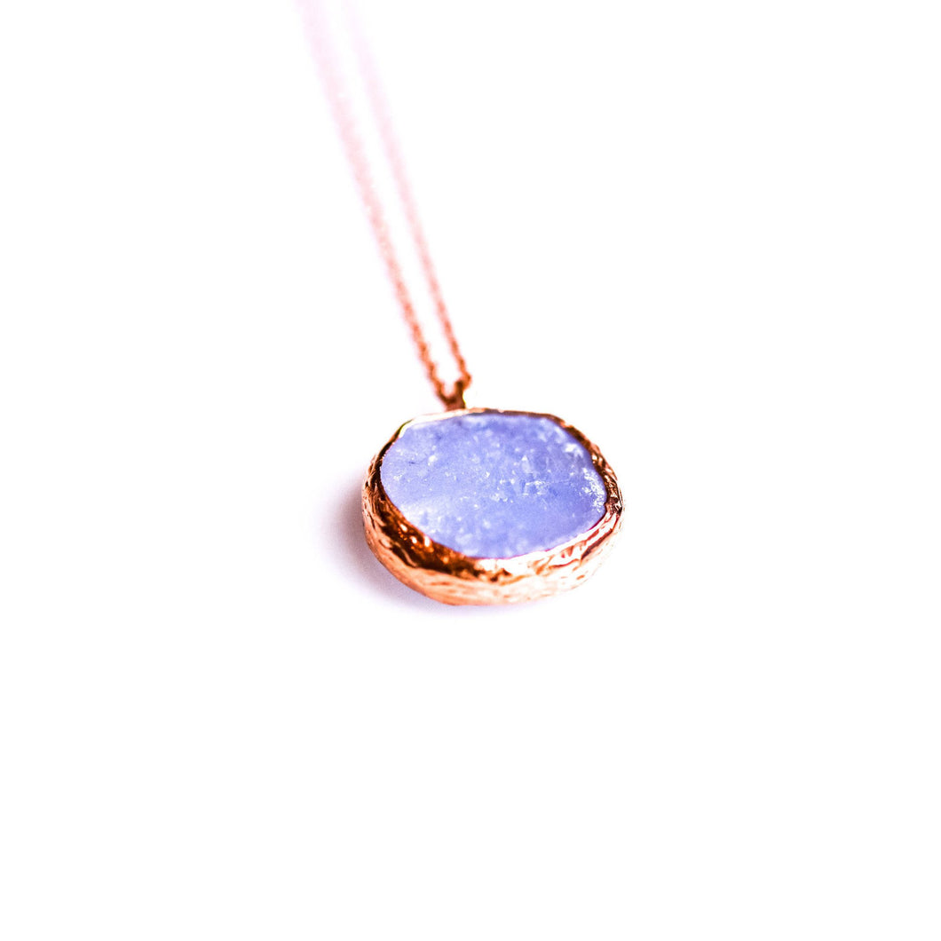 Silver Drusy Blue Chalcedony Pendant