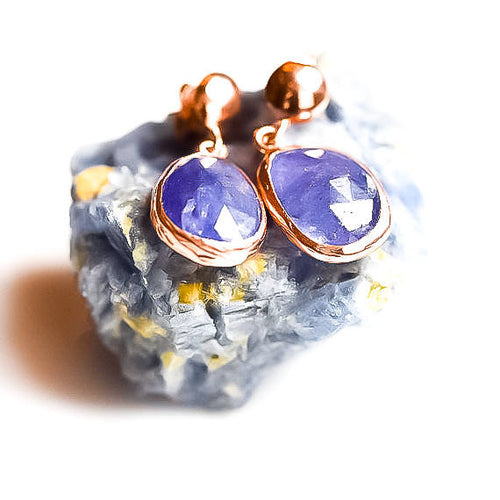Silver Natural Tanzanite Earrings Rose Gold