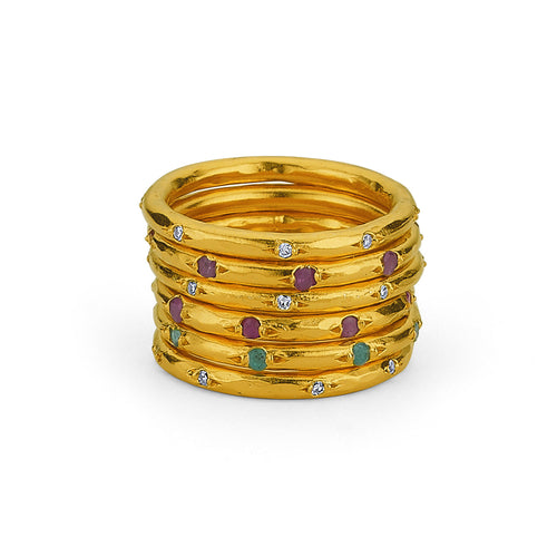 Silver Stackable Ring With Gemstones Gold