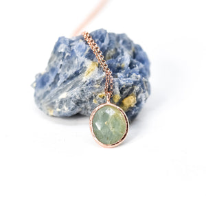 Sterling Silver Aquamarine Pendant Rose Gold