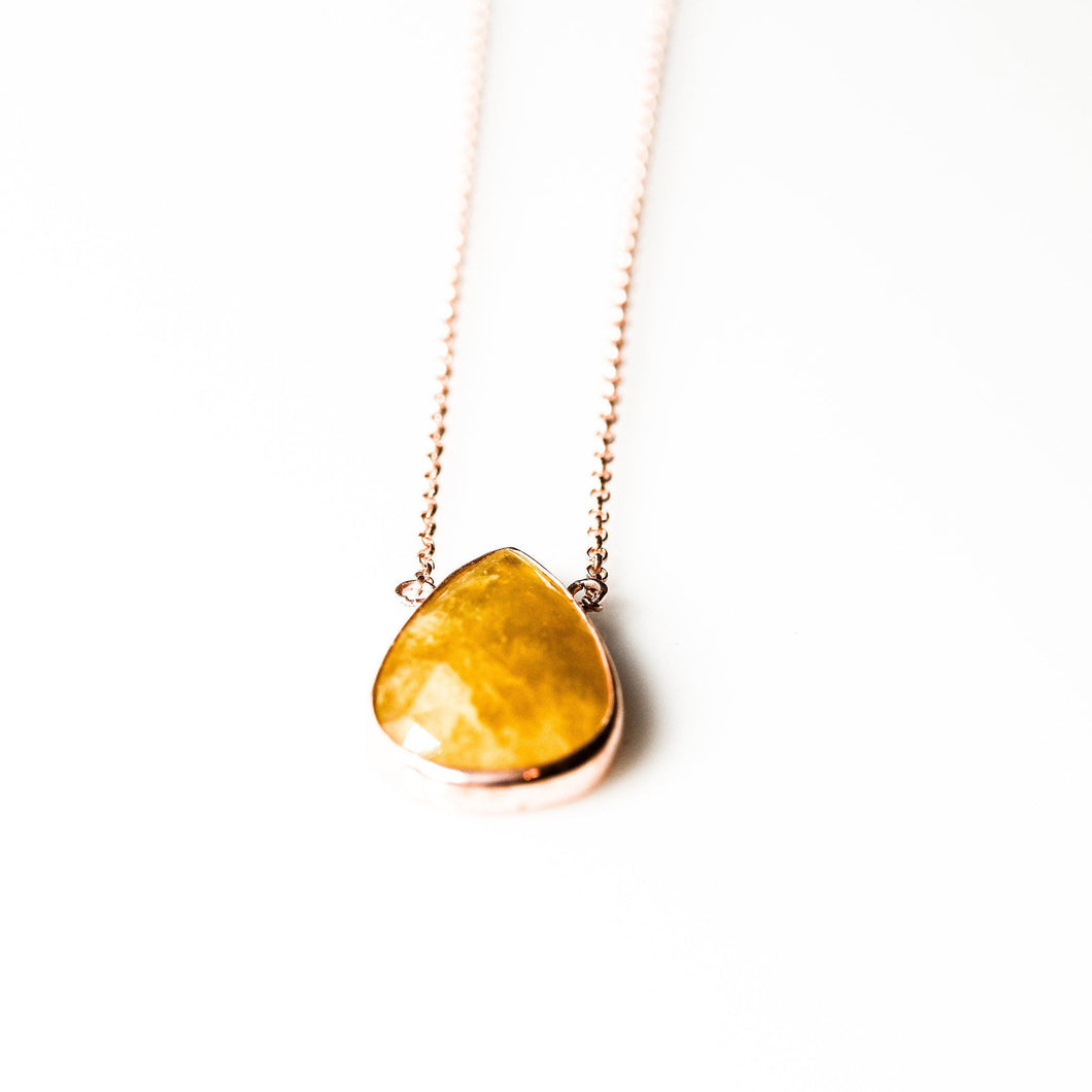 Sterling Silver Yellow Aventurine Necklace Rose Gold