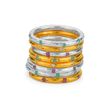 Load image into Gallery viewer, Silver Stackable Ring With Gemstones Gold