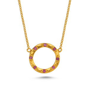 Silver Ruby Necklace 24 Karat Gold Plated