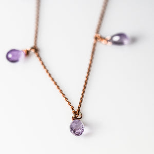 Silver Drop Amethyst Necklace