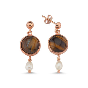 Silver Tiger's Eye Earrings Rose Gold