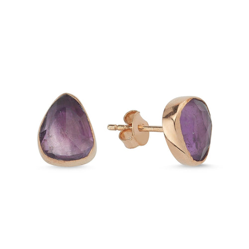 Silver Natural Amethyst Earrings Rose Gold