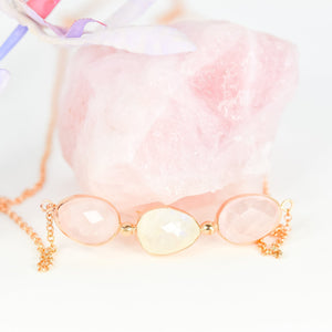 Rose Quartz Necklace And Moonstone Necklace