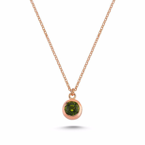 Sterling Silver Peridot Necklace Rose Gold
