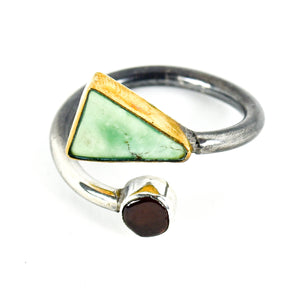 Silver Turquoise And Tourmaline Ring