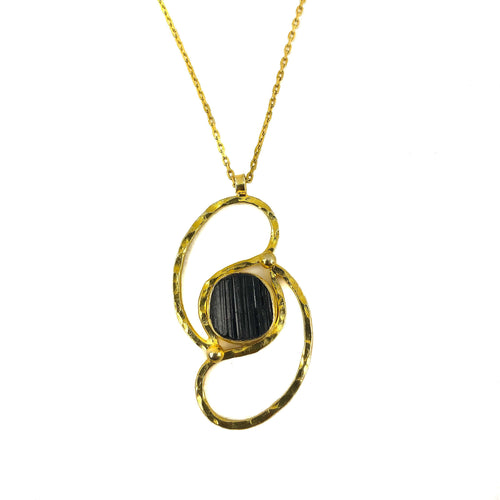 Silver and Gold Turquoise And Black TourmalineNecklace