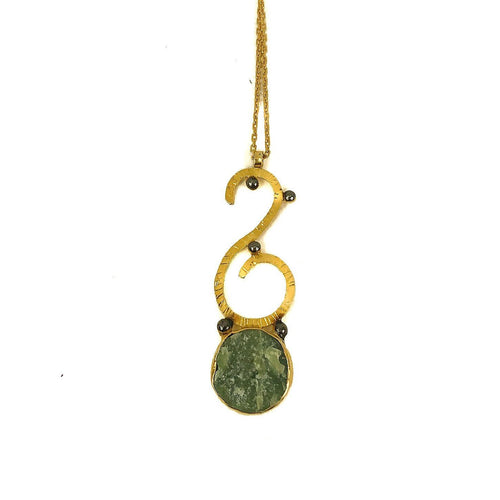Sterling Silver Green Aventurine Necklace Gold