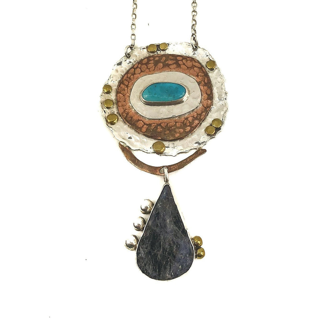 Silver and Gold Turquoise And Black Tourmaline Necklace