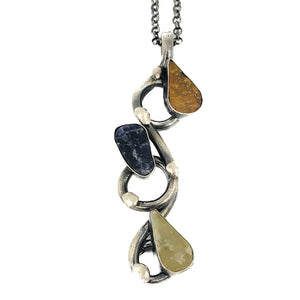 Silver Fluorite Moonstone Tiger's Eye Necklace