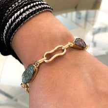 Load image into Gallery viewer, Raw Lepidolite and Sodalite Gold Bracelet