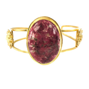 Sterling Silver Gold Cherry Creek Jasper Cuff Bracelet