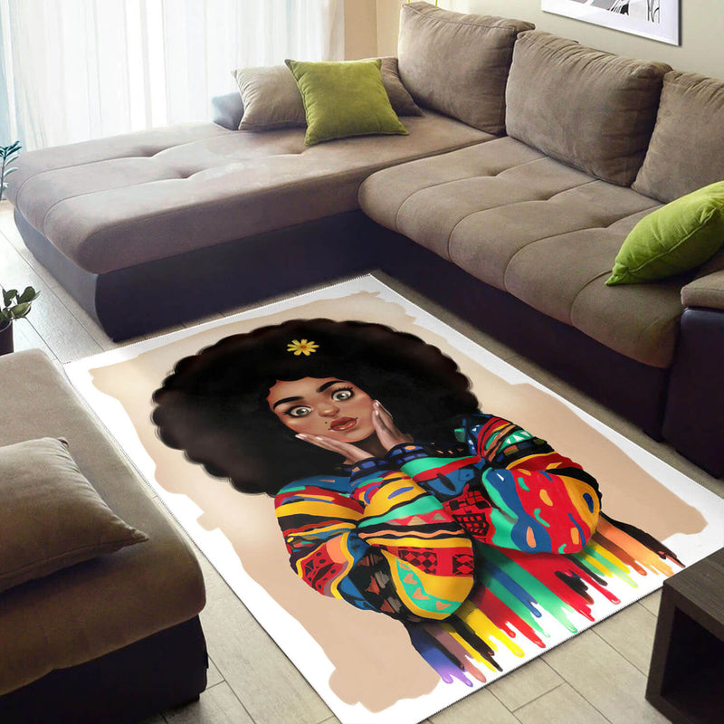 African Rugs Pretty Afro Woman African Carpet Afrocentric Home Decor A Wbgstore