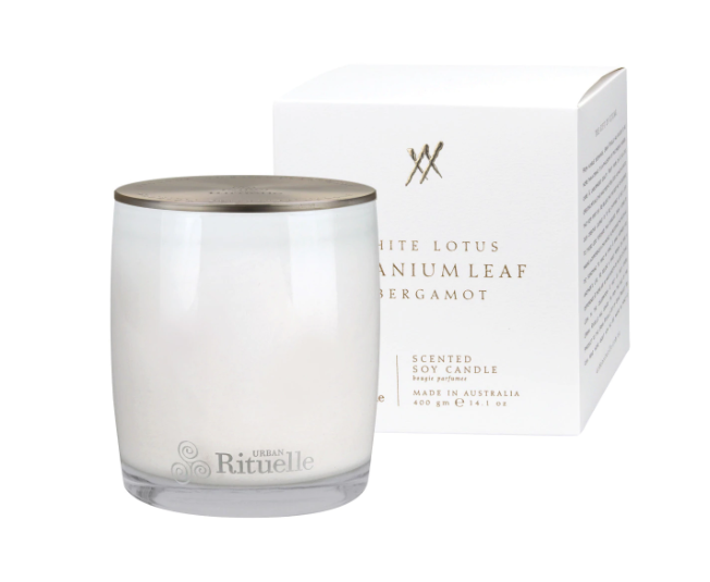 Urban Rituelle Alchemy - White Lotus, Geranium Leaf and Bergamot - Scented Soy Candle 400gm