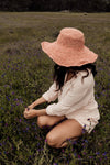 Hobo and Hatch Janis Wide Brim Hemp Hat - Peony
