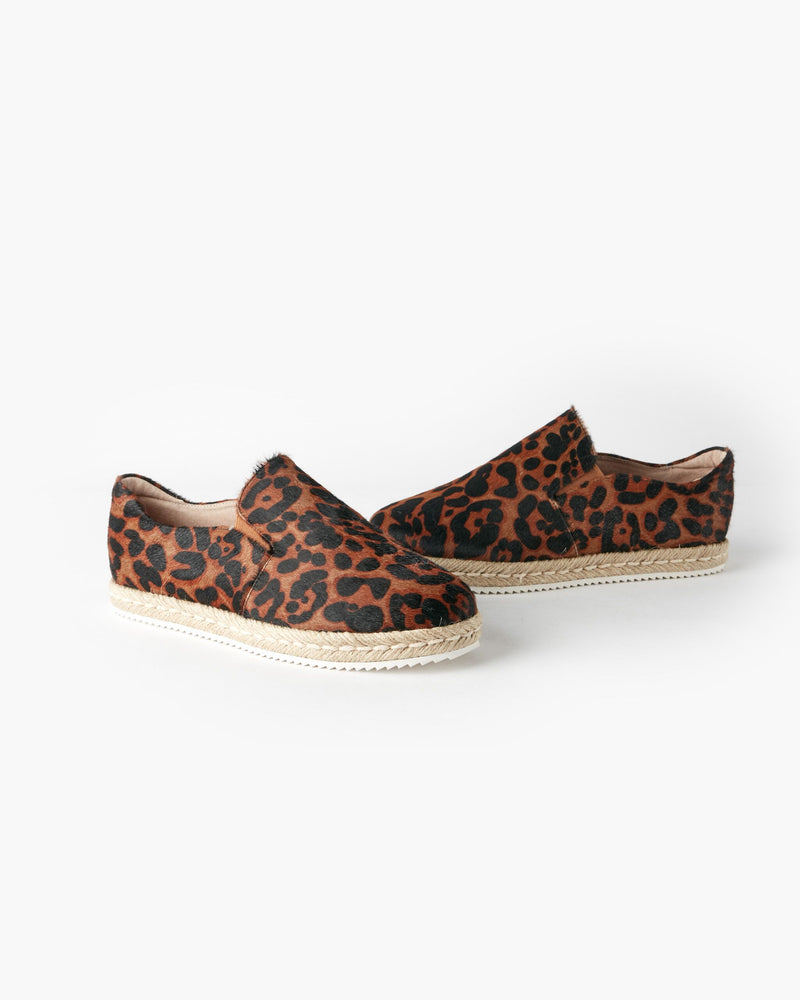 Walnut Melbourne Goldie Leather Espadrille -  Chocolate Leopard
