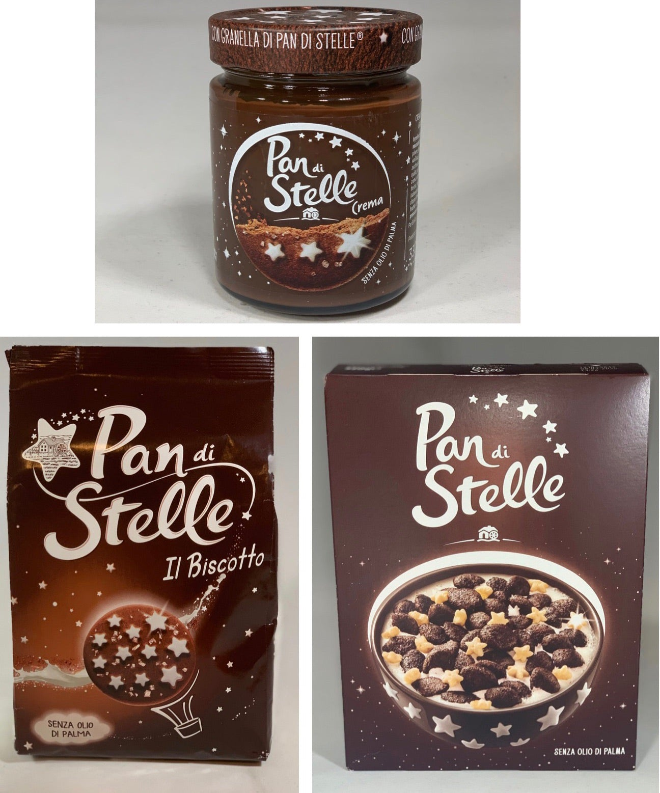 Bundle Pan Di Stelle: 1 Pan di Stelle cookies 350g; 1 Pan di Stelle Cream; 1 Pan di Stelle box of cereal