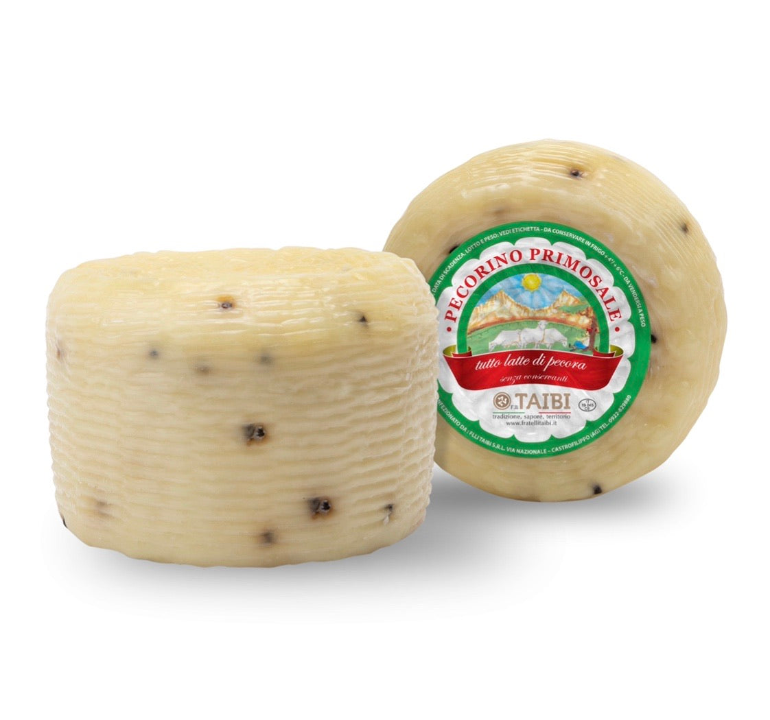 Pecorino Primosale with Black Pepper, Taibi, Approx. 1Lb