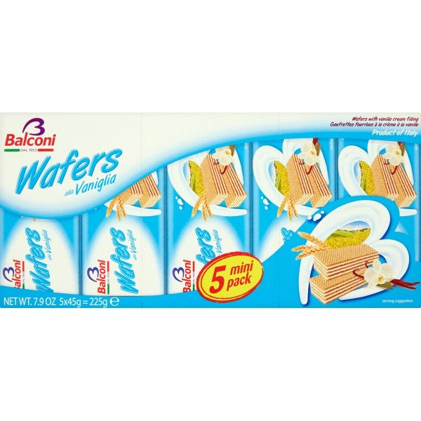 (BEST BEFORE: 10/28/20)Wafer Balconi Vanilla 5x45g